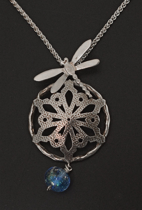 PENDANT, STERLING SILVER SNOWFLAKE & DRAGONFLY