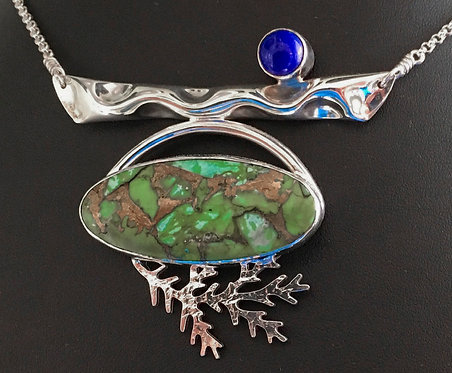 PENDANT, STERLING SILVER, BEZEL SET CHINESE TURQUOISE