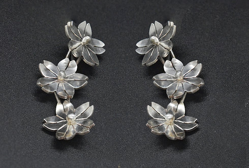 EARRINGS, STERLING SILVER, ARTICULATED CHERRY BLOOMS