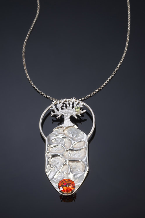 NECKLACE, STERLING SILVER TREE