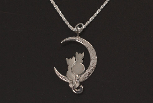 PETS - PENDANT - STERLING SILVER CATS ON MOON