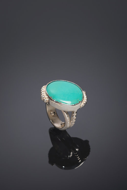 RING, STERLING SILVER FABRICATED BEADED WIRE DESIGN