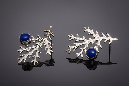 EARRINGS, STERLING SILVER FABRICATED PINE DESIGN