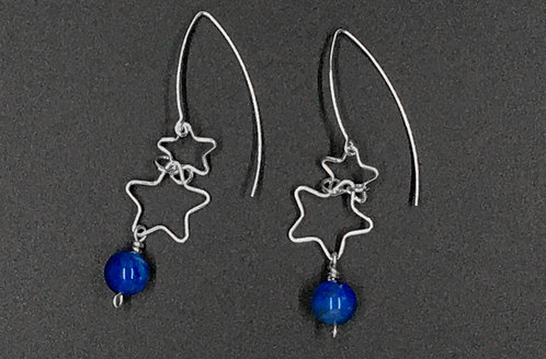 EARRINGS, STERLING SILVER, DOUBLE STAR DANGLE