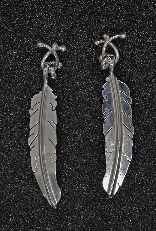 EARRINGS, STERLING SILVER, FABRICATED FEATHER MOTIF`