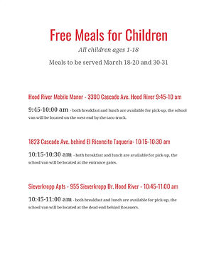 Meals for Children - Additional Sites _P