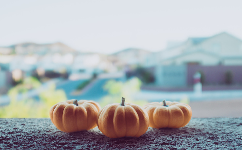 3 mini pumpkins on a ledge