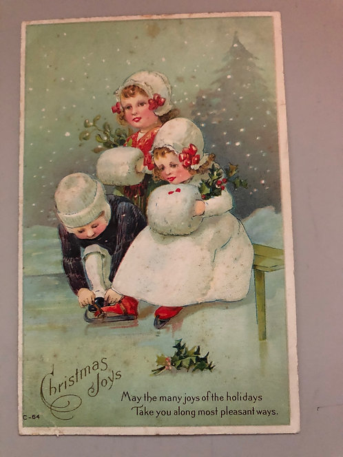 1914 Christmas Joys Vintage Postcard, Little Children Ice Skating in the snow