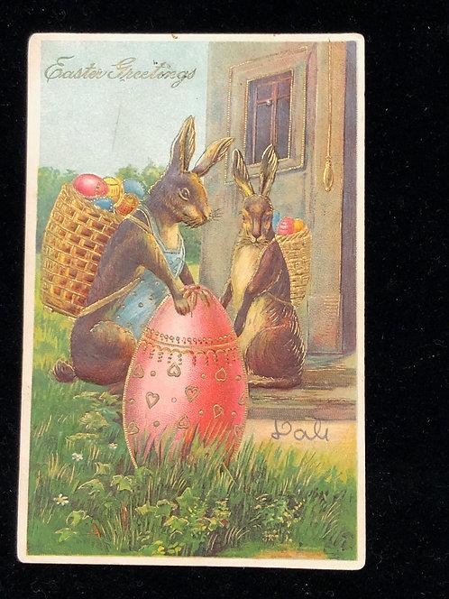 Antique Easter postcard, Giant Rabbits delivering a HUGE decorated Egg & baskets