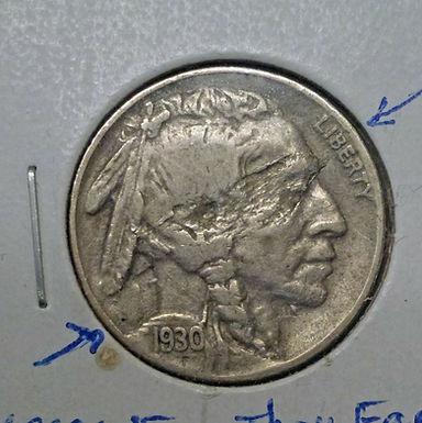 1930-S BUFFALO Nickel LAMINATION Error Obverse