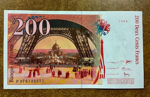 1999 France banknote 200 Francs P-159c crisp UNC (Gustave builder) Eiffel Tower