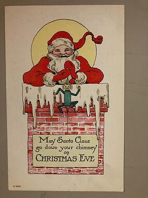 Antique Santa Claus Postcard, Santa down chimney on Christmas Eve
