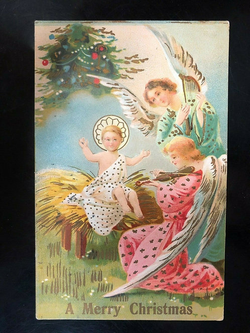 Antique 1910 Merry Christmas Postcard w/ Jesus & Angels- Made in Italy, Nativity