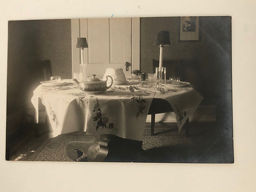 Antique PHOTO of Dining Room Interior Postmarked 1915 IA
