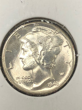 1943 D Mercury Silver Dime MS, Full Bands