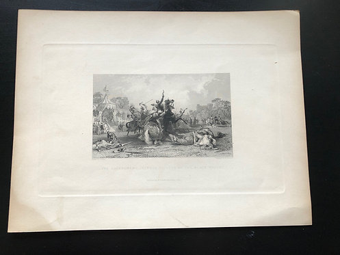 1837 Antique Print Thomas Allom, Engraving by R. Staines, Ivanhoe