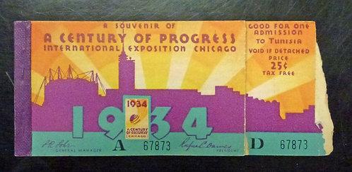 1934 Chicago World's Fair CENTURY OF PROGRESS TICKET booklet
