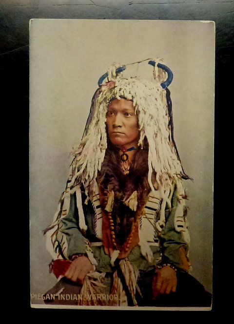 1900's Piegan (Blackfoot) Indian Warrior Postcard