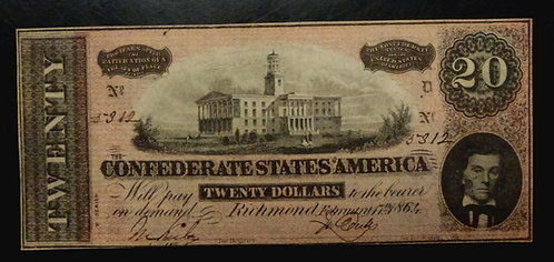 1864 Civil War $20 CONFEDERATE State Currency T-67 X Series UNC