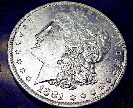 1881-O  Morgan SILVER Dollar Struck through forehead