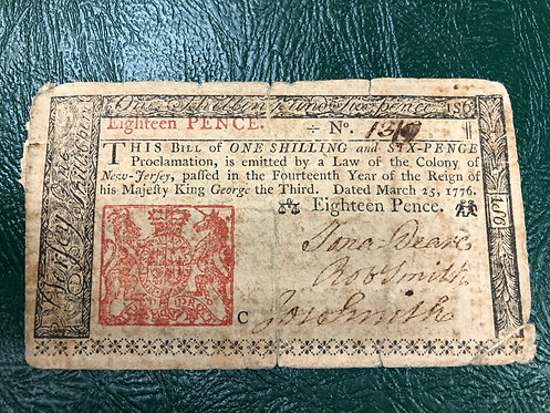 1776 New Jersey Colonial Currency 1 Shilling 6 Pence Note