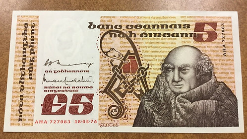 1976 Central Bank of Ireland £5 Banknote