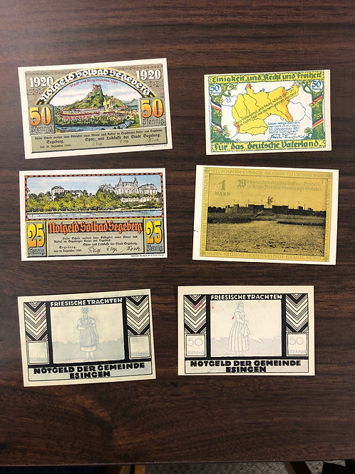 6 variety NOTGELD notes 1920 & 21 Germany, MAP, PLACES, & PHOTO+