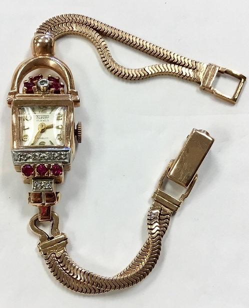 14K VINTAGE ROSE GOLD LADIES WATCH DIAMONDS & RUBIES Tilbury SWISS