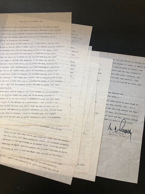 Manuscript & Autograph by US General Ridgway, Aircraft use in Warfare