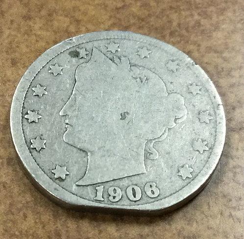 1906 V Nickel ERROR straight clip planchet