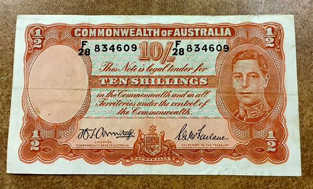 1942  P 25b Australia Ten Shillings King George VI  VF