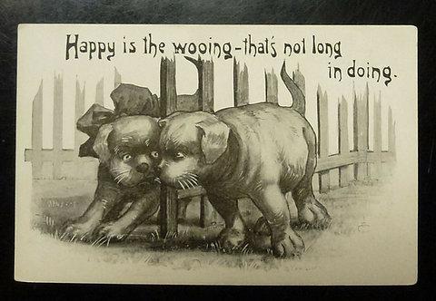 Vintage COMIC Postcard Dogs