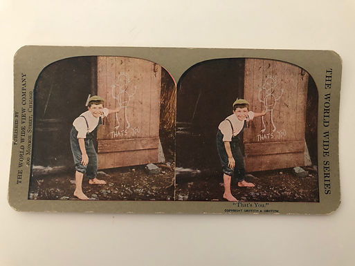 """Antique 1900's COMICAL Stereoview """"That's You"""" Little Boy points to DRAWING"""