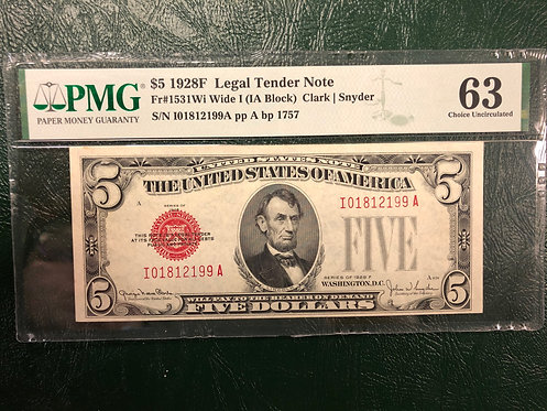 1928F $5 Legal Tender Note Wide I (IA Block) PMG Graded 63 Choice Uncirculated