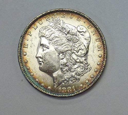 1881-O Morgan Silver Dollar Rainbow Rim Toning