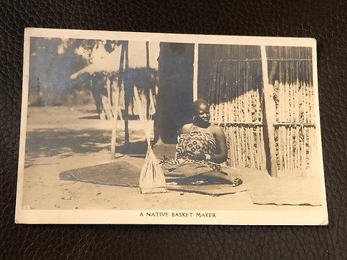 Native Basket Maker postmarked Bulawayo Zimbabwe Africa REAL Photo Postcard