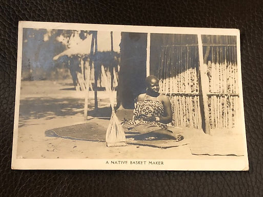 Native Basket Maker postmarked Bulawayo Zimbabwe Africa REAL Photo Postcard