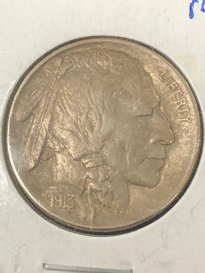 1913 D, Buffalo Nickel, Type 1, Rotated Die AU
