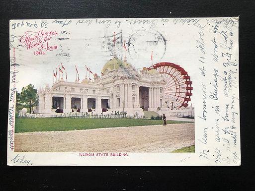 1904 St. Louis Exposition Postcard, Illinois State Building, Official Souvenir