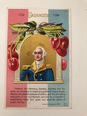 Antique 1900's George Washington Postcard by E. NASH, Cherries, Lafayette