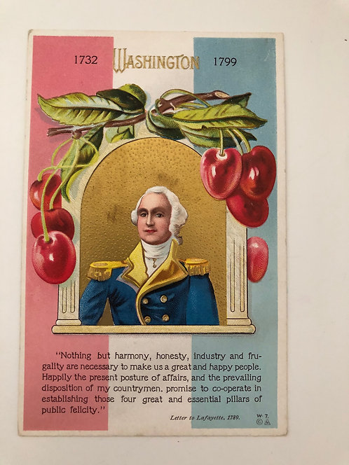 Antique 1900's George Washington Postcard by E. NASH, Cherries, Lafayette