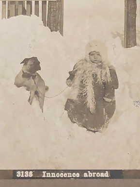 "Antique 1900's Stereoview ""Innocence abroad"" BABY and DOG in DEEP SNOW"