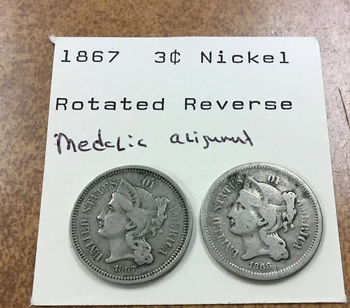 1867 3c nickel rotated reverse 170 degrees! comparison