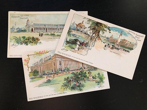 """1904 St. Louis Exposition Lot of 3 Postcards """"Official Souvenir"""" Signed C Graham"""