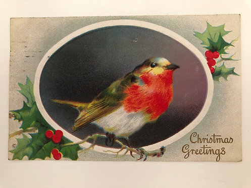 Vintage 1914 Christmas Greetings Postcard, Red Robin and Holly,