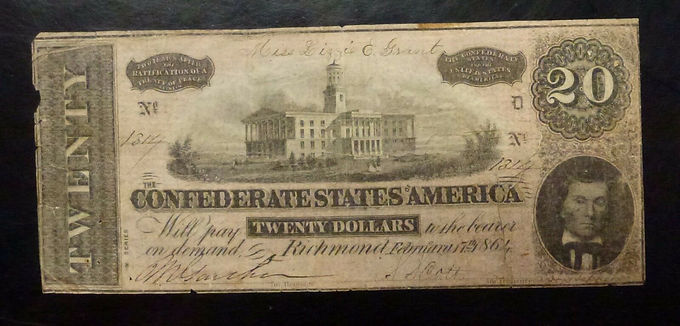 1864 RARE $20 CONFEDERATE CURRENCY T67 W/ Drug store pharmacy advertising SC
