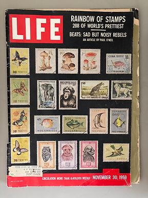 LIFE MAGAZINE NOVEMBER 30 1959 RARE STAMPS fold out, WILT CHAMBERLAIN, BEATNIKS