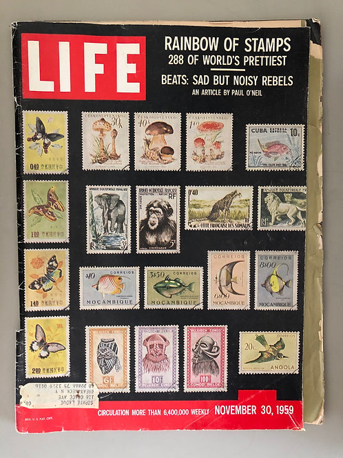 LIFE MAGAZINE NOVEMBER 30 1959 RARE STAMPS fold out, WILT CHAMBERLAIN, BEATNIKS