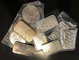 Silver bars, Silver rounds, Silver coins