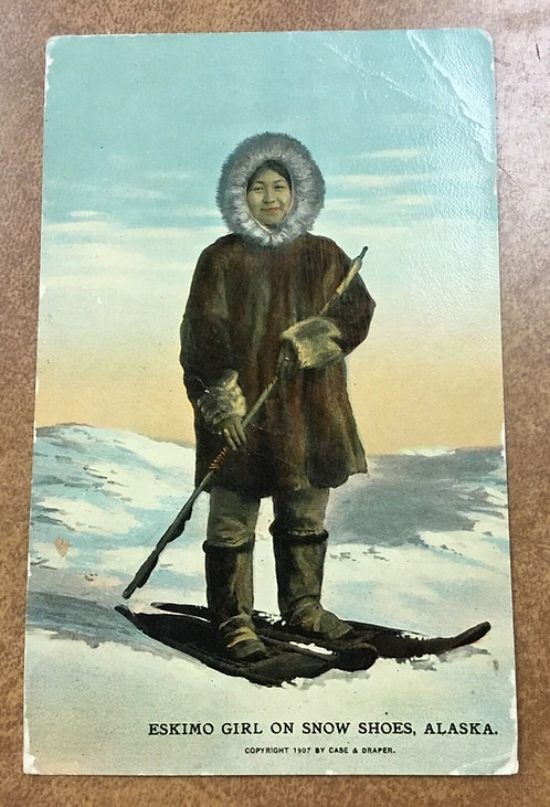 Postcard RARE Postmark St. Michael Alaska 1915 Eskimo Girl on Snow shoes, Inuit